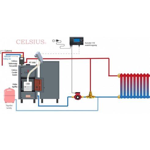 Celsius Combi 45 - 50 fa/pellet berendezéssel egyszerűsített rendszer