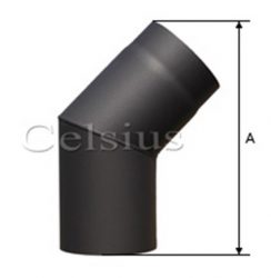 Cot 45° tub de flacără din otel - 132 mm